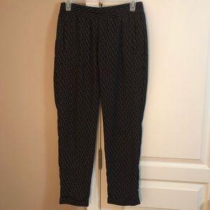 GAP XS Black Patterned Dress Pants - Elastic Waist
